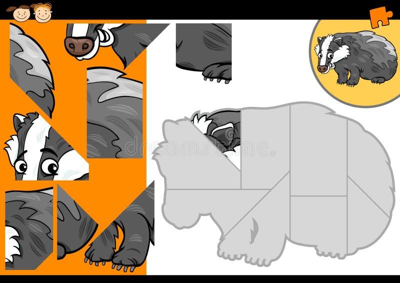 Jogo do enigma de serra de vaivém do texugo dos desenhos animados ilustração do vetor