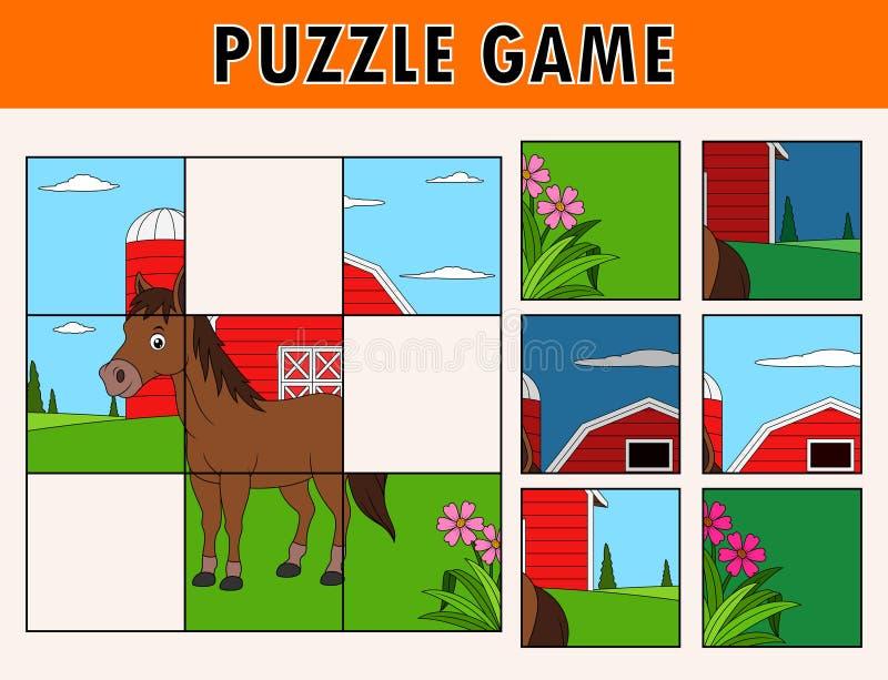 Jogo do enigma de serra de vaivém com o animal bonito do cavalo ilustração royalty free