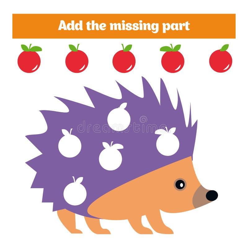 Jogo do enigma Jogo educacional visual para crianças Tarefa: encontre as peças faltantes Folha para crianças prées-escolar ilustração royalty free