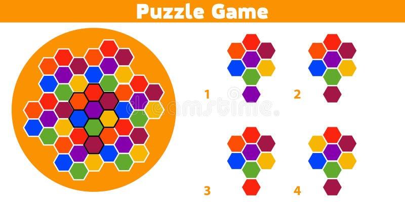 Jogo do enigma Termine o jogo da lógica da educação do teste padrão para crianças prées-escolar Ilustração do vetor ilustração stock