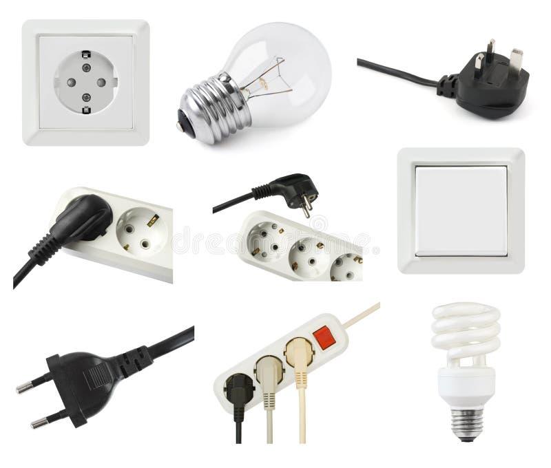 Jogo do equipamento elétrico imagens de stock