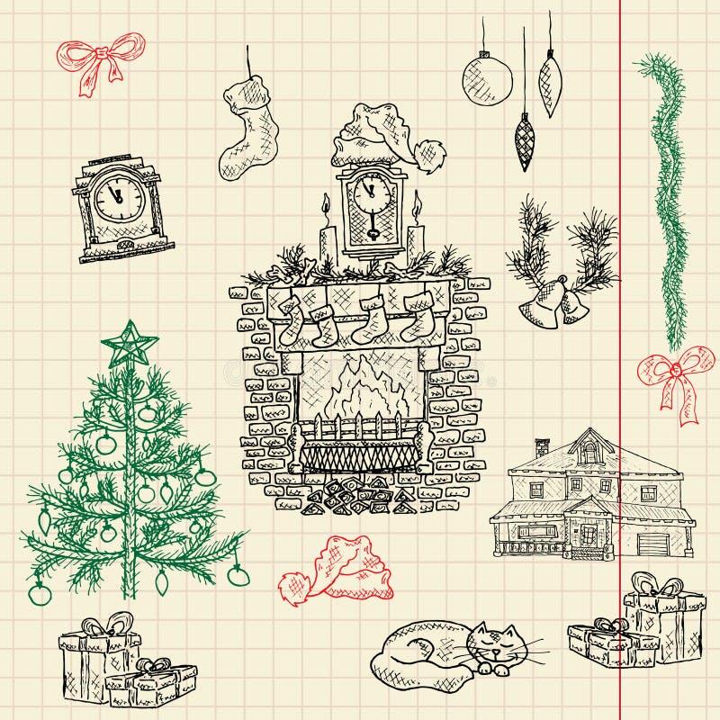 Jogo do esboço do Natal para seu projeto ilustração do vetor