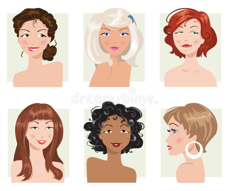Jogo do estilo de cabelo fêmea Coleção do vetor ilustração stock