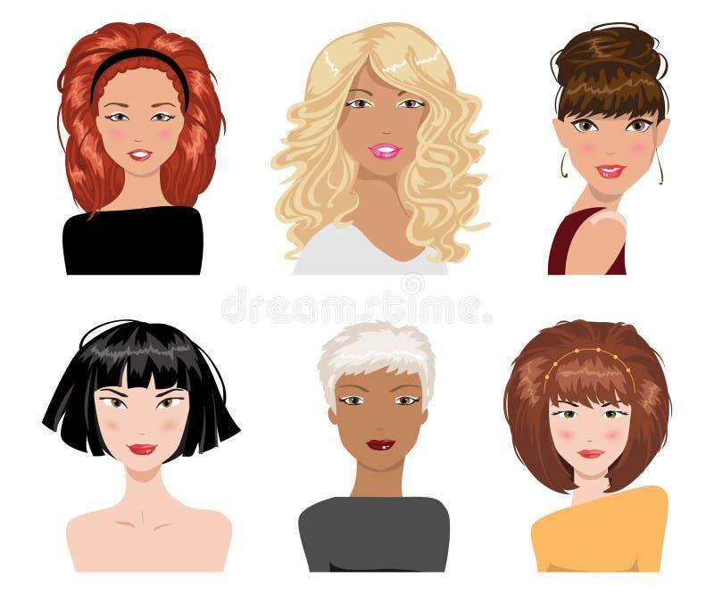 Jogo do estilo de cabelo fêmea Coleção do vetor ilustração do vetor