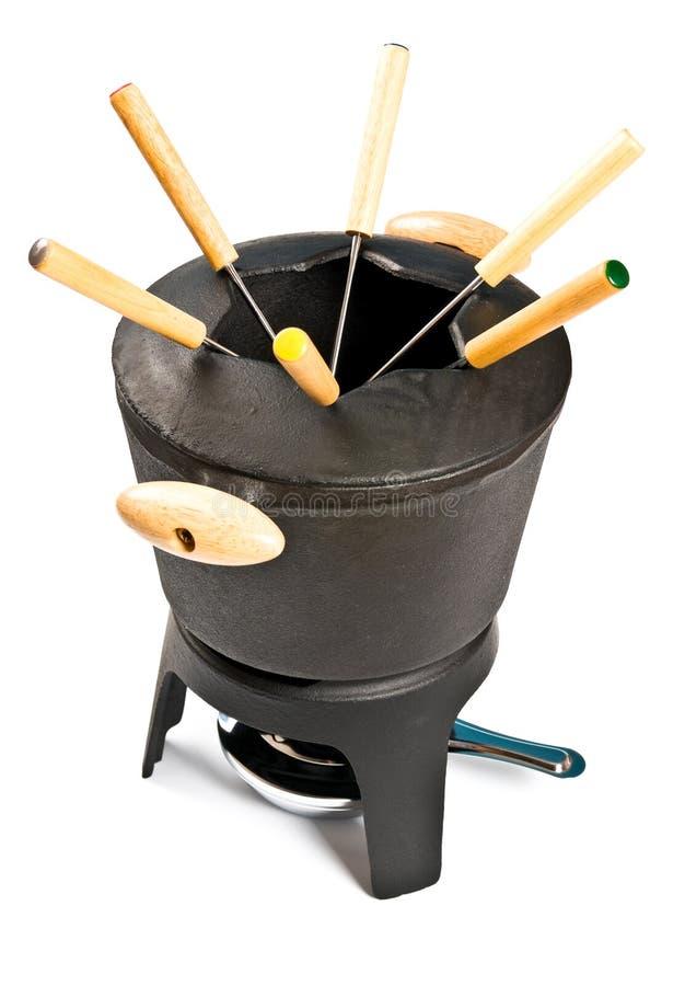 Jogo do fondue do ferro de molde fotos de stock