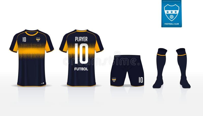 Jogo do futebol ou molde do jérsei do futebol para o clube do futebol Zombaria curto da camisa do futebol da luva acima Uniforme  ilustração royalty free