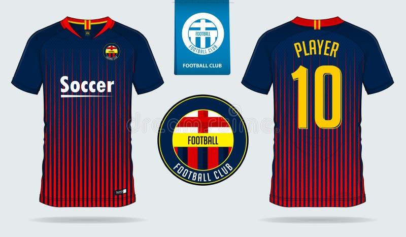 Jogo do futebol ou molde do jérsei do futebol para o clube do futebol Zombaria curto da camisa do futebol da luva acima Uniforme  ilustração do vetor
