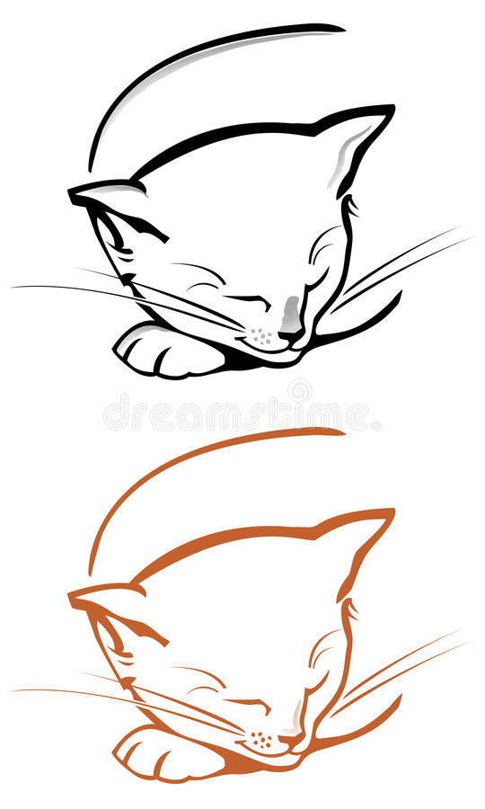 Jogo do gato do esboço ilustração stock