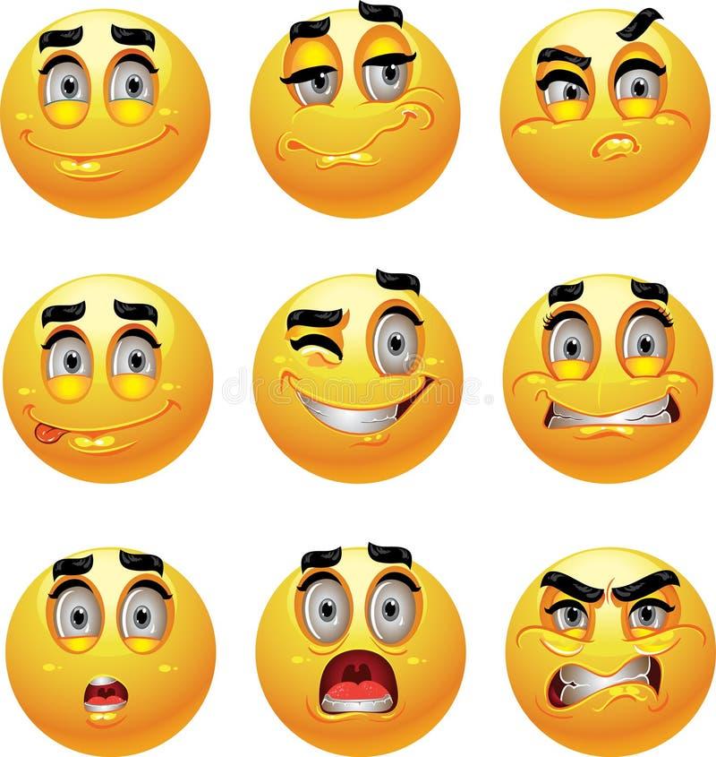 Jogo do grupo de 9 sorrisos da emoção ilustração royalty free