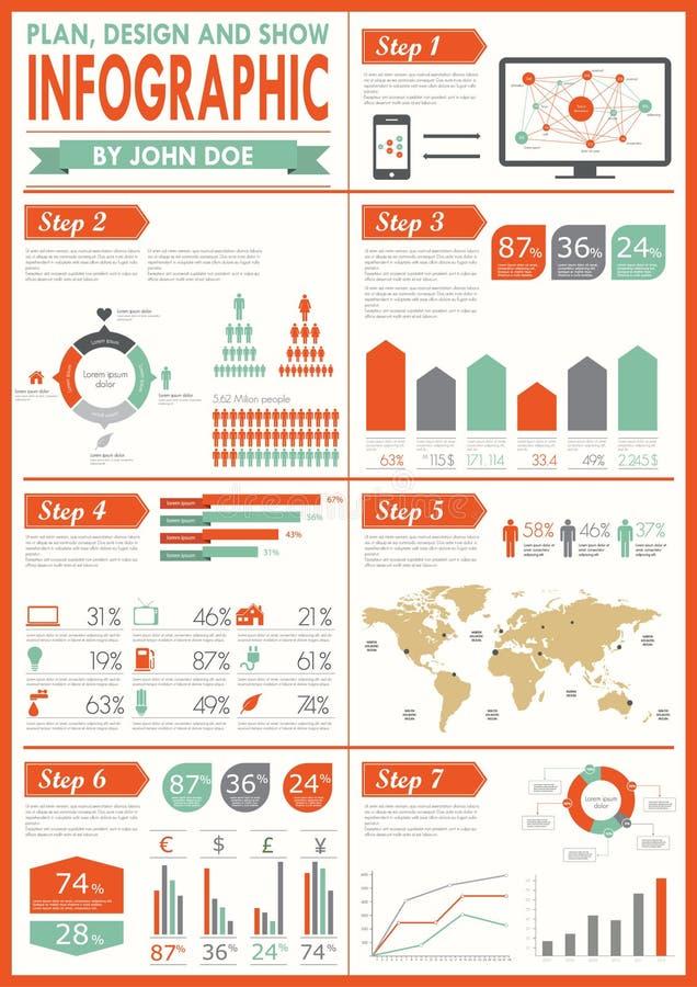 Jogo do infographics do vintage.