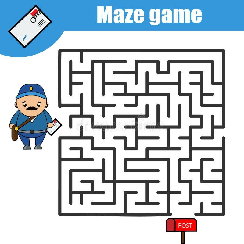 Jogo do labirinto: caixa do carteiro e do cargo Caçoa a folha da atividade, crianças imprimíveis ilustração stock