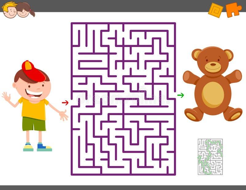 Jogo do labirinto com menino dos desenhos animados e urso de peluche ilustração royalty free