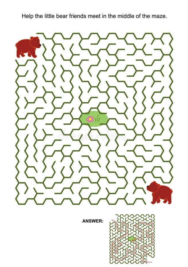 Jogo do labirinto com os dois ursos marrons pequenos ilustração royalty free