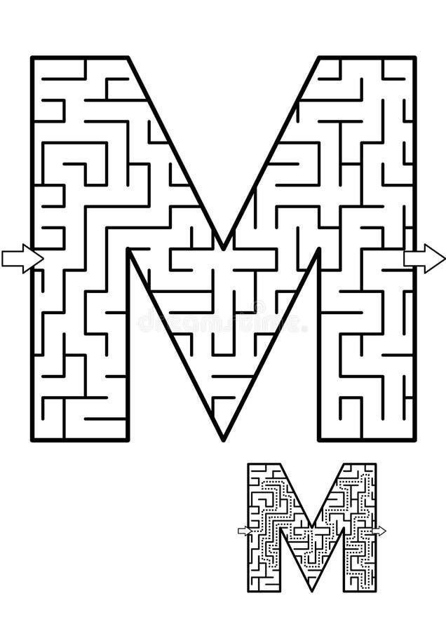 Jogo do labirinto da letra M para crianças ilustração do vetor
