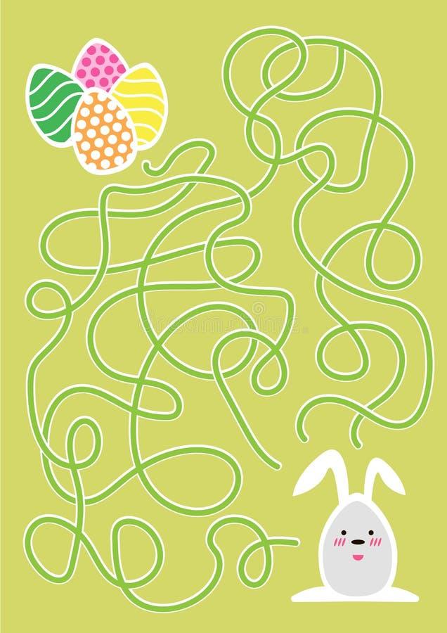 Jogo do labirinto da Páscoa ou página da atividade para crianças ilustração stock