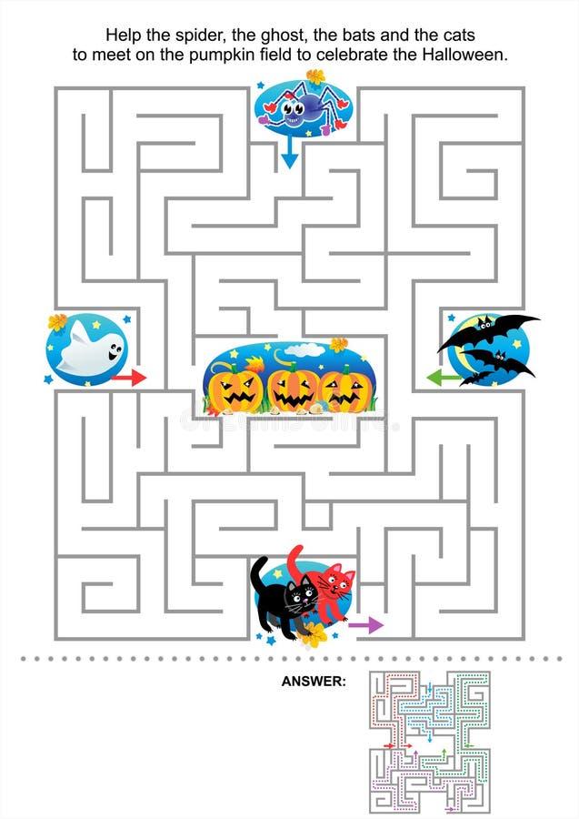 Jogo do labirinto de Halloween para miúdos ilustração do vetor