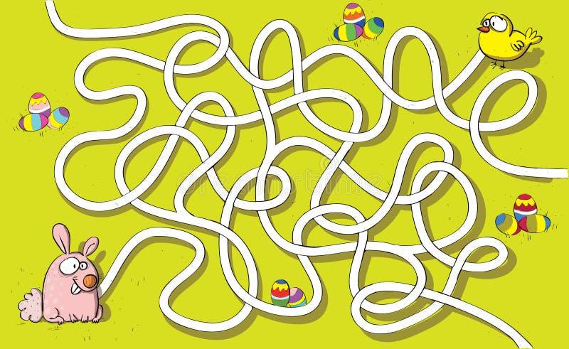 Jogo do labirinto do coelhinho da Páscoa e da galinha ilustração do vetor