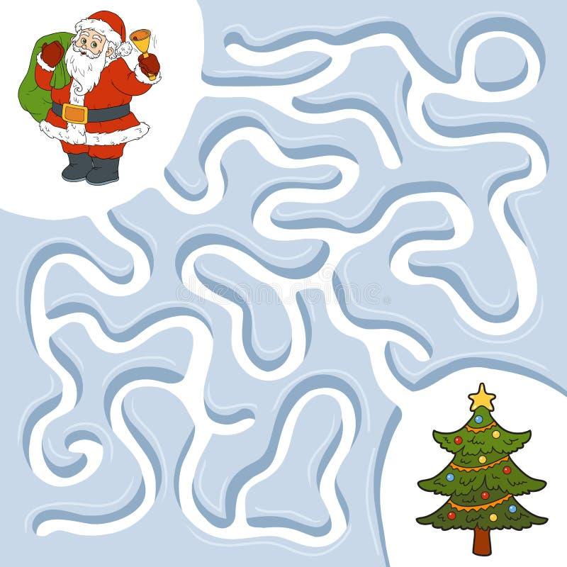 Jogo do labirinto do inverno, árvore de Santa Claus e de Natal ilustração royalty free