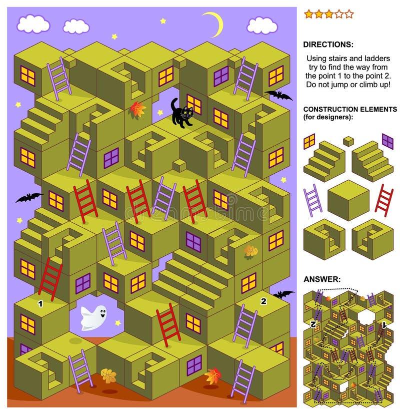 Jogo do labirinto do outono ou do Dia das Bruxas 3d com escadas e escadas ilustração do vetor