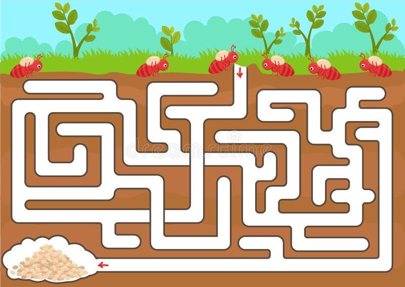 Jogo do labirinto do vetor com sala da formiga do achado ilustração do vetor