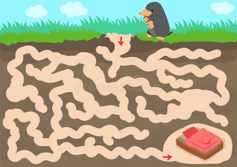 Jogo do labirinto do vetor com sala da toupeira do achado ilustração stock