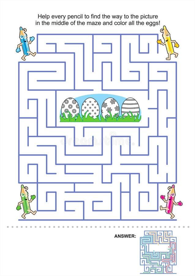 Jogo do labirinto e página da coloração para miúdos ilustração do vetor