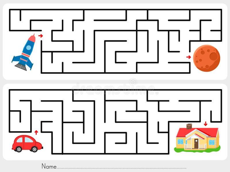 Jogo do labirinto: O foguete da ajuda para encontrar a maneira carro vermelho estraga e do ajuda para encontrar a maneira de diri ilustração royalty free