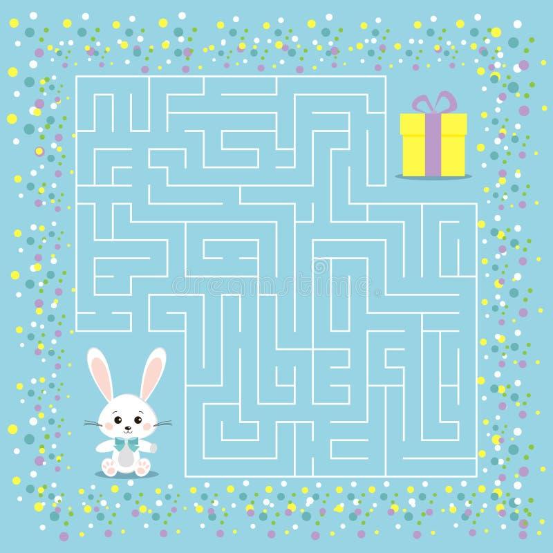 Jogo do labirinto para as crianças com um labirinto ilustração royalty free
