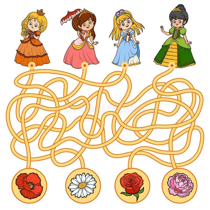 Jogo do labirinto para crianças Princesa e flores pequenas ilustração stock