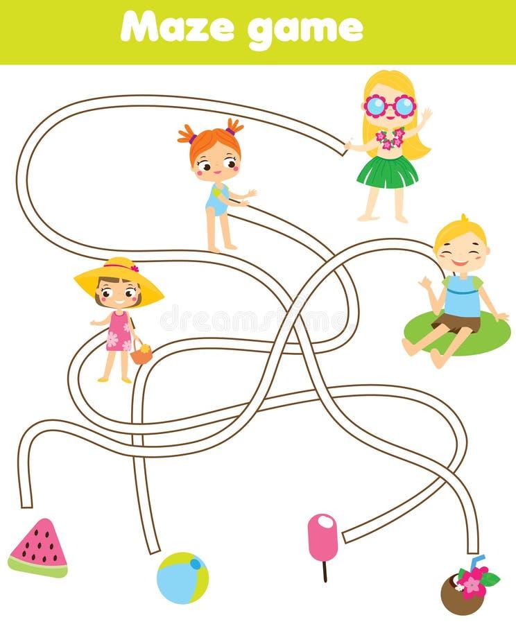 Jogo do labirinto para crianças Tema das férias de verão Crianças da ajuda para encontrar objetos perdidos ilustração do vetor