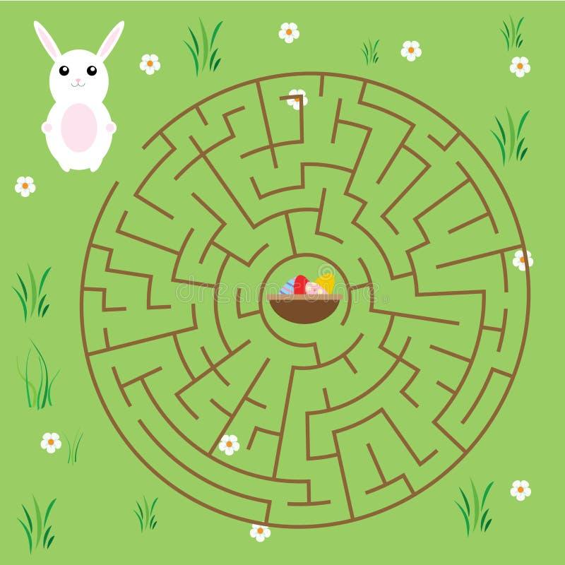 Jogo do labirinto para crianças tema dos contos de fadas Maneira do achado do coelho da ajuda aos ovos da páscoa ilustração stock