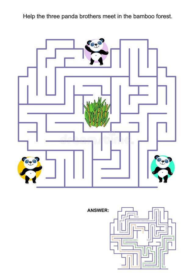 Jogo do labirinto para crianças - ursos de panda ilustração do vetor