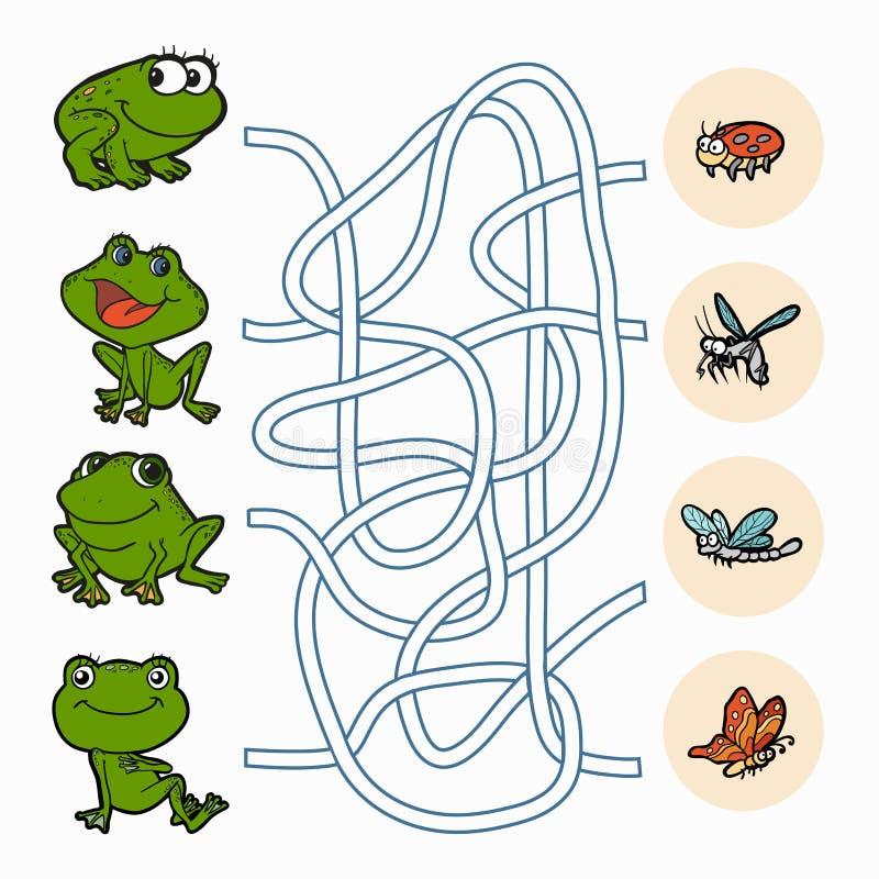Jogo do labirinto: Rãs da ajuda para encontrar o alimento ilustração stock