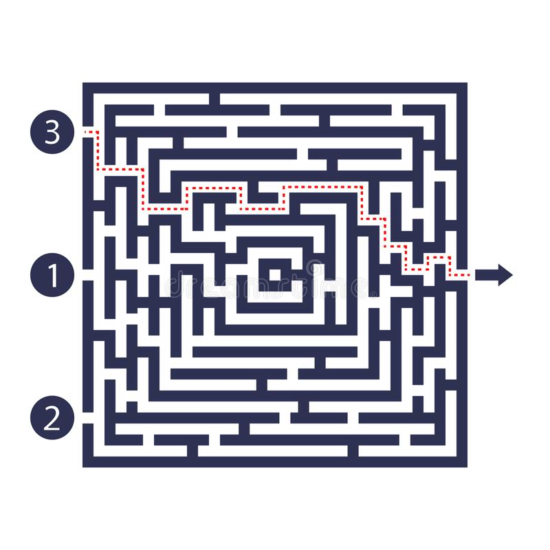 Jogo do labirinto Três entradas, uma saída e uma maneira direita ir Mas muitos trajetos a bloquear Ilustração do vetor ilustração royalty free