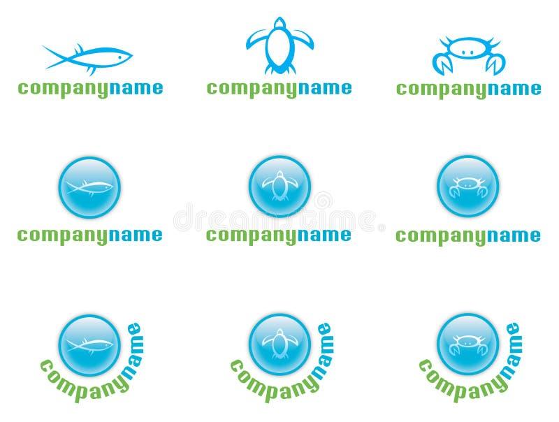 Jogo do logotipo da vida marinha ilustração do vetor
