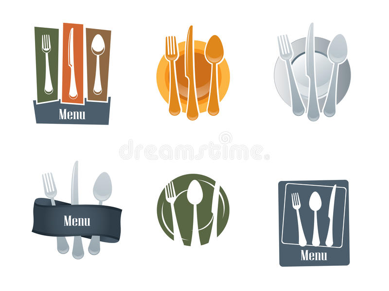 Jogo do logotipo do restaurante ilustração stock