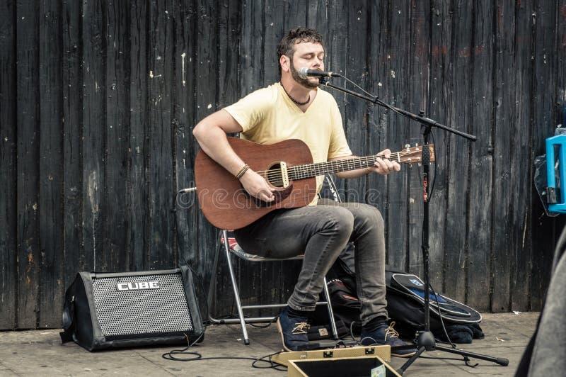 Jogo do músico da rua fotografia de stock