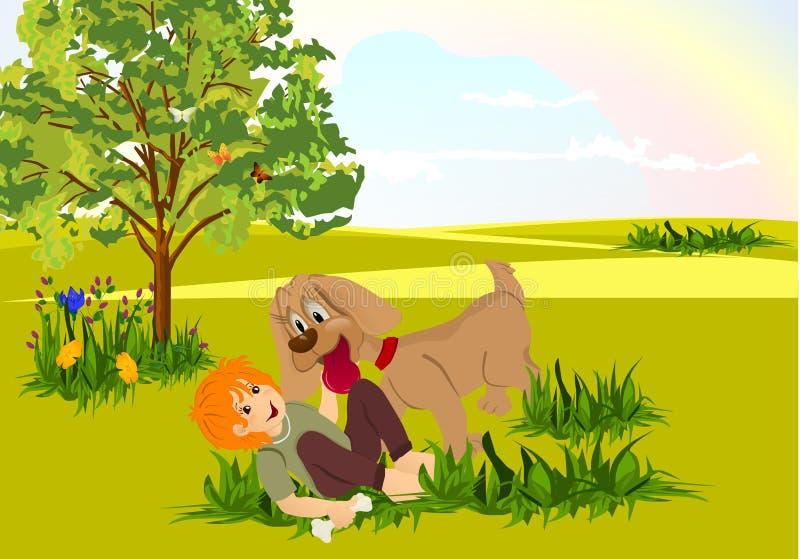 Jogo do menino e do cão ilustração stock