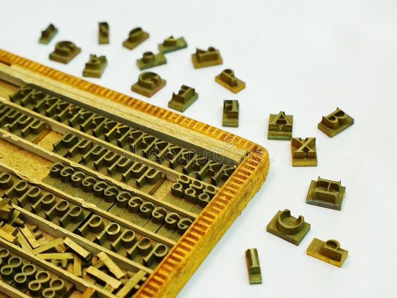 Jogo do molde da letra de impressão da imprensa do metal imagens de stock
