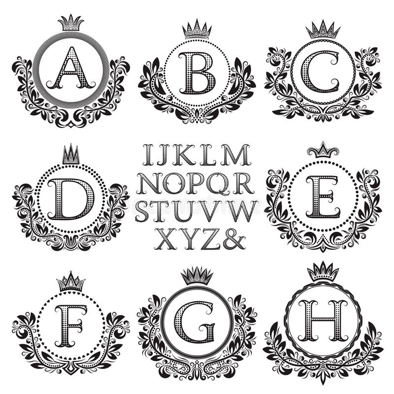 Jogo do monograma do vintage Enegreça letras modeladas e quadros florais da brasão para criar o logotipo inicial no estilo antigo ilustração do vetor