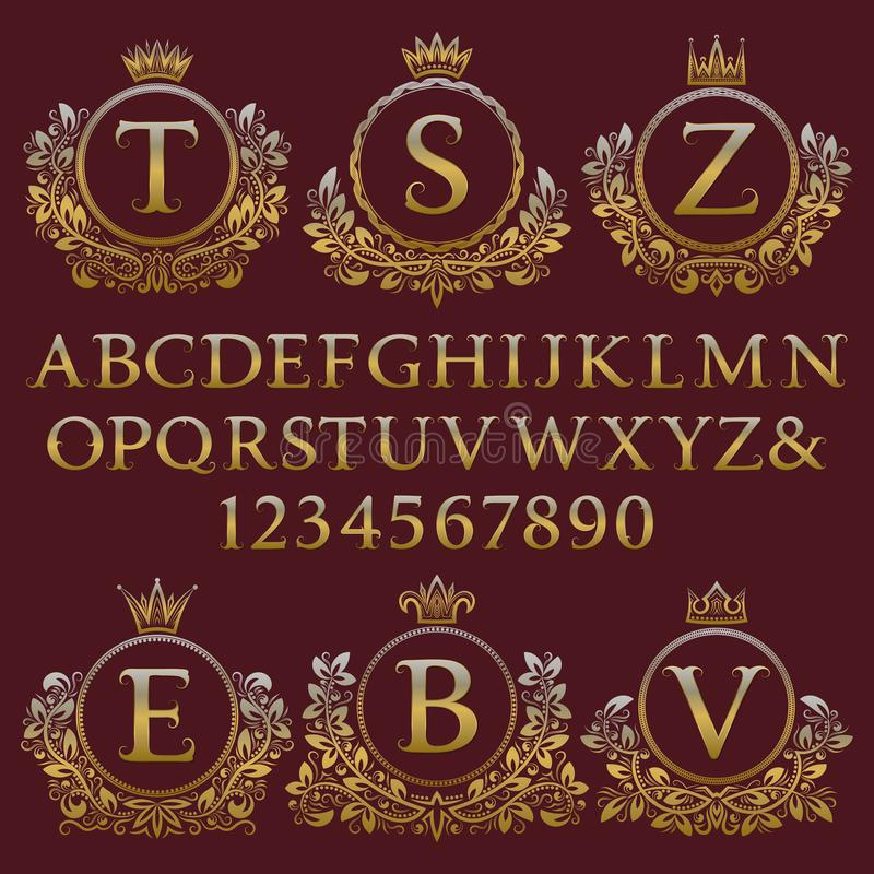Jogo do monograma do vintage Letras douradas, números e quadros florais da brasão para criar o logotipo inicial no estilo antigo ilustração do vetor