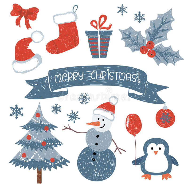 Jogo do Natal Coleção do vetor de elementos do projeto do Natal da garatuja ilustração royalty free