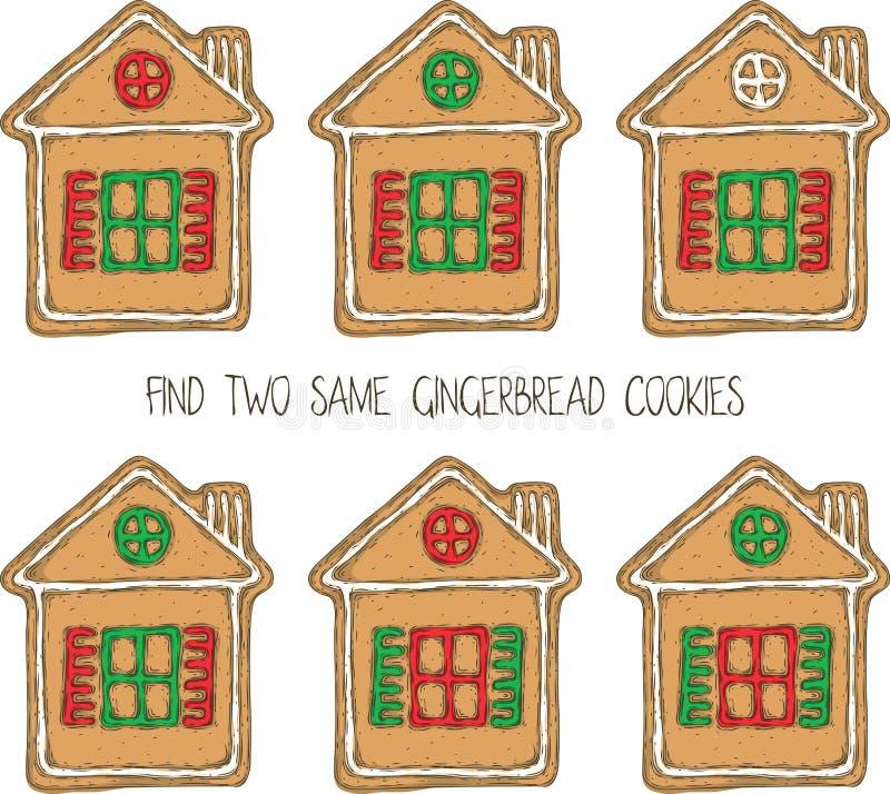 Jogo do Natal com cookies do pão-de-espécie ilustração stock