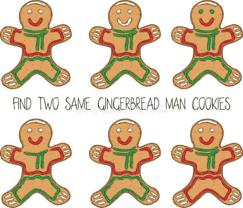 Jogo do Natal para crianças com homem de pão-de-espécie ilustração stock