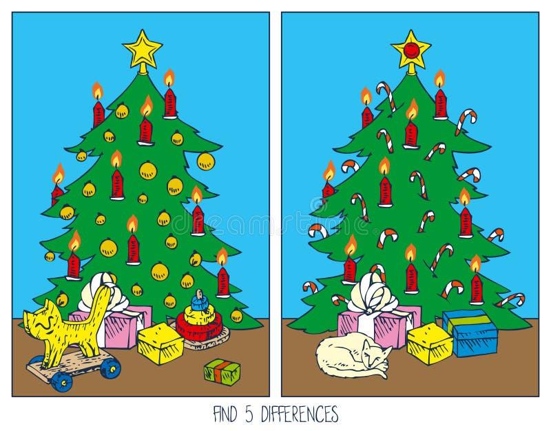 Jogo do Natal para crianças diferenças do achado ilustração royalty free