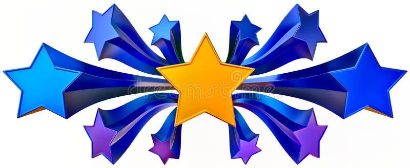 Jogo do ouro onze brilhante e de estrelas azuis ilustração do vetor