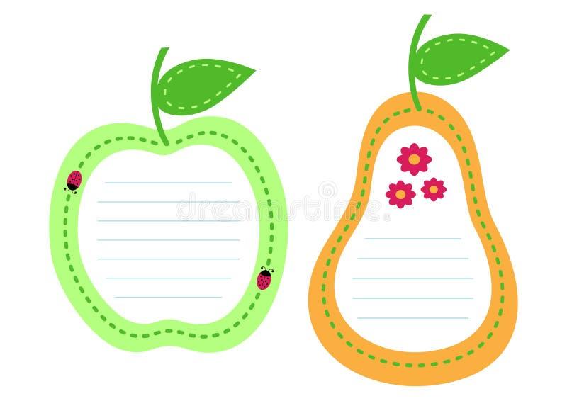Jogo do papel alinhado fruta ilustração stock