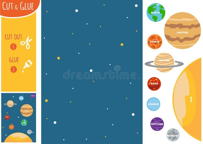Jogo do papel da educação para crianças, planetas do sistema solar ilustração stock