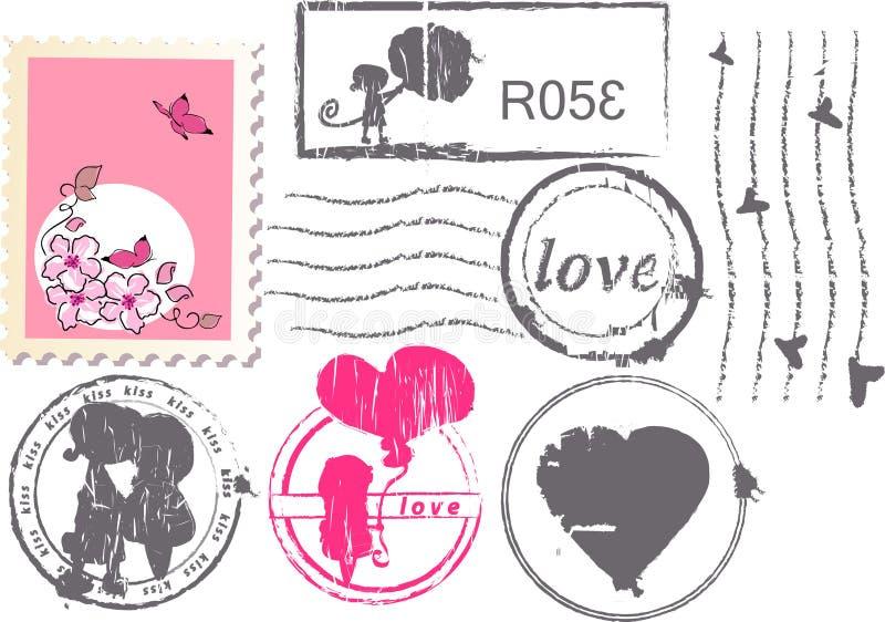 Jogo do porte postal do amor ilustração royalty free