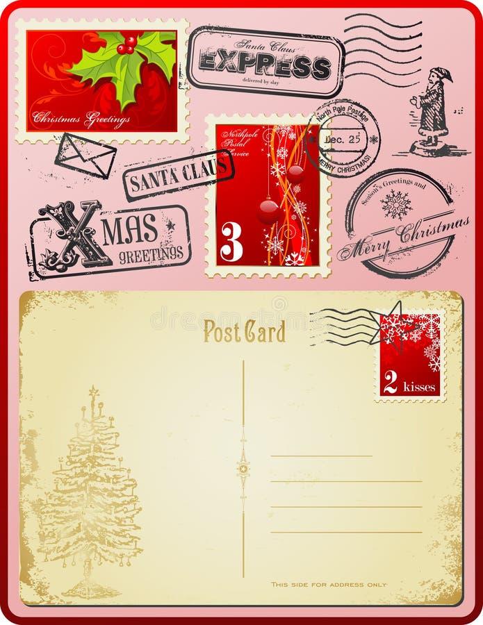 Jogo do porte postal do Natal ilustração do vetor